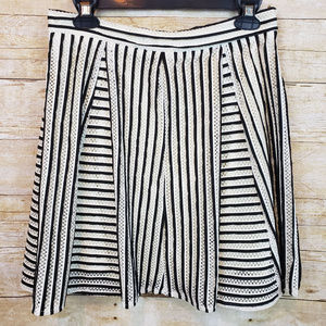 INA Womens White Black Striped Mesh Skater Skirt